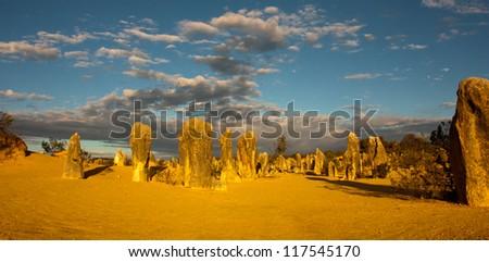 The Pinnacles desert in Nambung National Park, Western Australia, panorama - stock photo