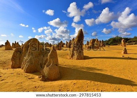 The Pinnacles Dessert famous for its limestone rock formations, in Nambung National Park