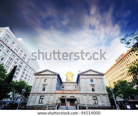 The pioneer courthouse in portland - stock photo