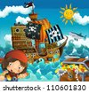 The pirates and the ships - bright sky - illustration for the children 3 - stock vector