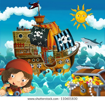 The pirates and the ships - bright sky - illustration for the children 3 - stock photo