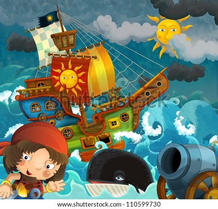 The pirates - illustration for the children 3 - stock photo