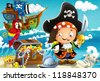The pirates - treasure hunt - illustration for the children - stock vector