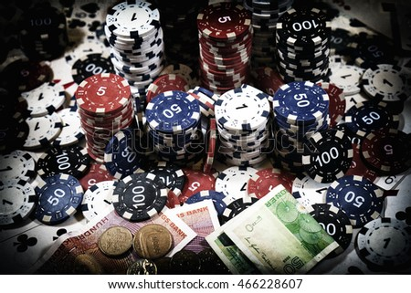 The place of a poker player: cards, chips and money