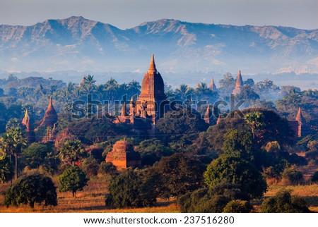 The plain of Bagan, Mandalay, Myanmar - stock photo