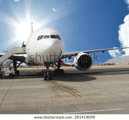 The plane. - stock photo
