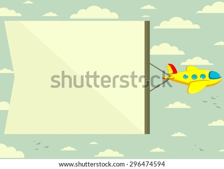 The plane flies with long banners for your text on a background of sky - stock photo