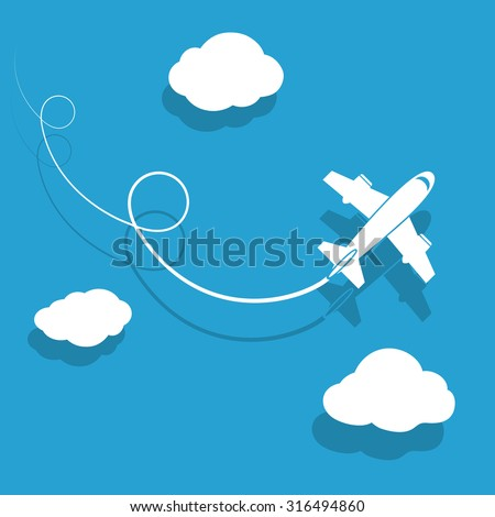 The plane is flying among the clouds. Stock image. - stock photo