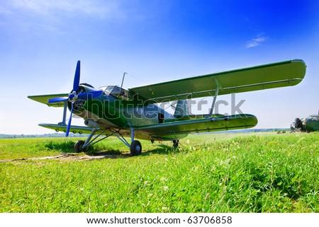 The plane prepares for flight - stock photo