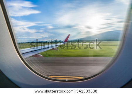 The plane take off from the airport  - stock photo