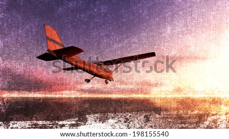 The plane was flying over the ocean in sunset for canvas background - stock photo