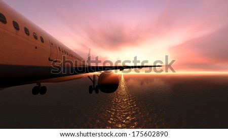 The plane was flying over the ocean on sunset - stock photo