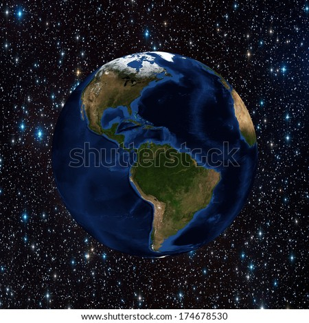 The planet earth in space full of stars  - stock photo