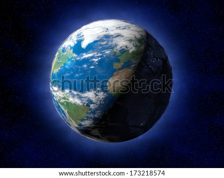 The planet earth with space full of stars - stock photo