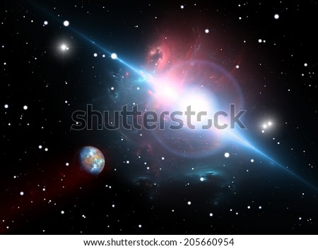 The planet orbits the pulsar In the danger zone - stock photo
