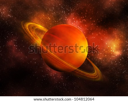 the planet Saturn in space - stock photo