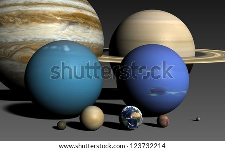 The planets of the solar system, rendered using the best available NASA imagery. The relative sizes are correct. Elements of this image furnished by NASA. - stock photo