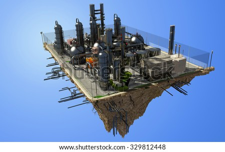 The plant on the island in the sky. - stock photo