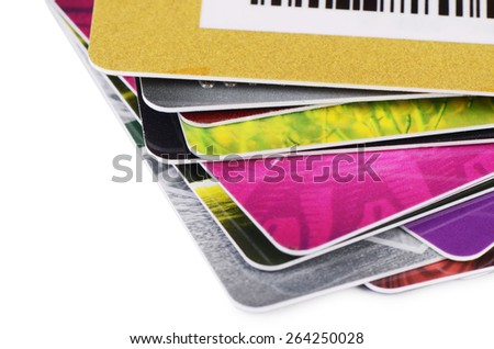 The plastic card isolated on white background - stock photo