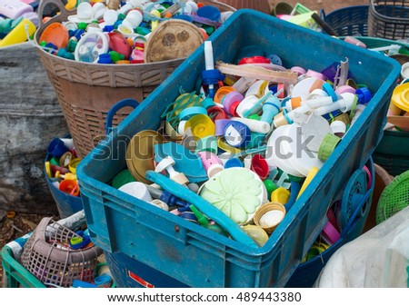 The plastic is gathered to be recycled