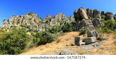 The plateau of Demerdzhi in southern peninsula of Crimea, Ukraine - stock photo