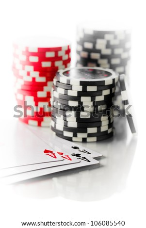 the playing cards and poker chips - stock photo