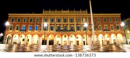 The Plaza Massena Square at night in Nice, France