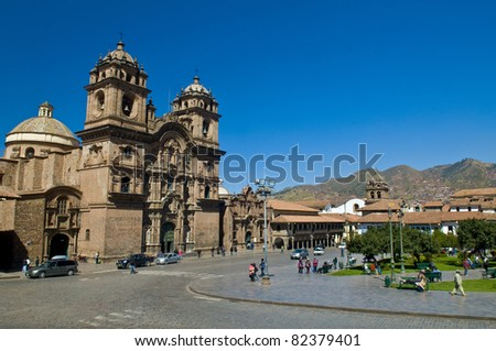"The ""Plaza the Armas"" , a main tourist attraction in Cusco , Peru"