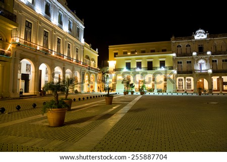 The Plaza Vieja in Old Havana at night, Cuba - stock photo