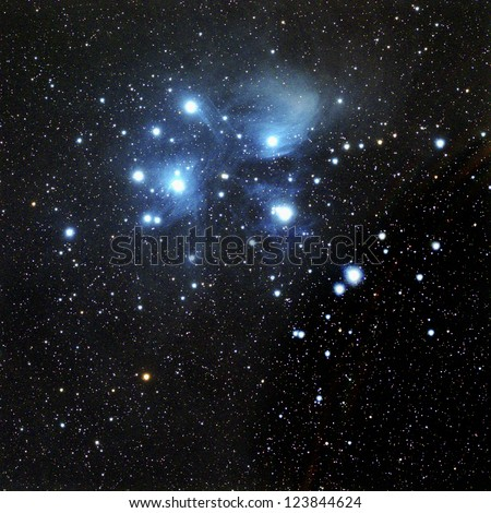 The Pleiades, also known as M45 in the constellation Taurus - stock photo