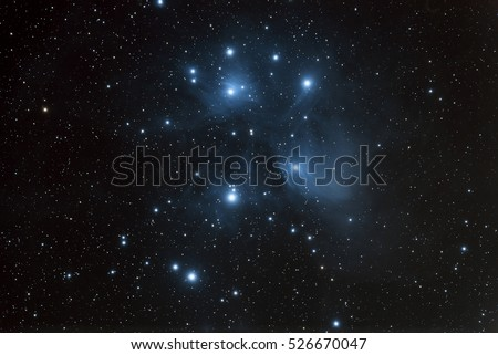 The Pleiades open star cluster and reflection nebula in the constellation of Taurus.