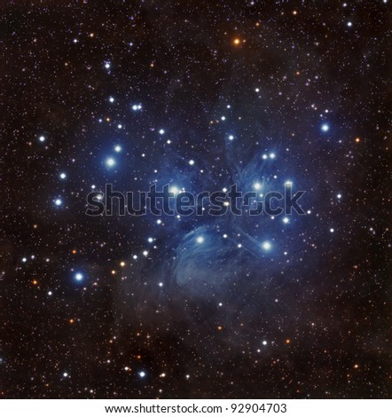 The Pleiades Star Cluster, Also Known as The Seven Sisters - stock photo
