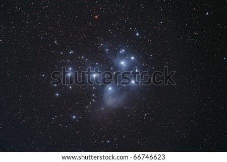 The Pleiades Star Cluster, The Seven Sisters - stock photo