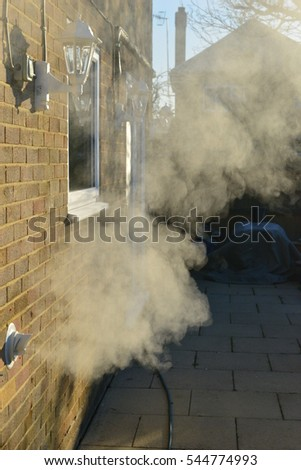 The plume from a condensing boiler in the UK on a very cold morning