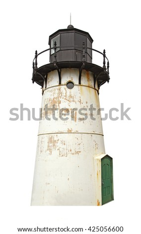 The Point Montara Fog Signal and Light Station off of California Highway 1 approximately 25 miles south of San Francisco isolated - stock photo