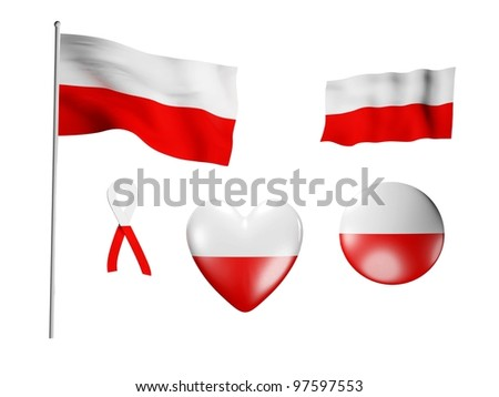 The Poland flag - set of icons and flags on white background