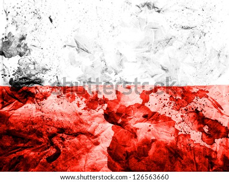 The Polish flag painted dirty and grungy paper - stock photo
