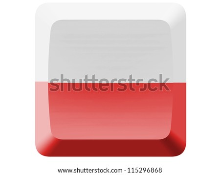 The Polish flag painted on button - stock photo