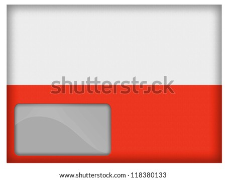 The Polish flag painted on postal envelope