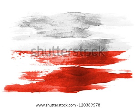The Polish flag painted on white paper with watercolor - stock photo
