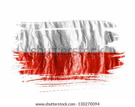 The Polish flag painted with watercolor on wet white paper - stock photo
