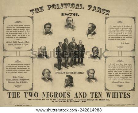 THE POLITICAL FARCE OF 1876 showing portraits of twelve men who served on the election boards of Florida and Louisiana, who defeated the will of the American people. - stock photo