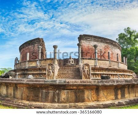 The Polonnaruwa Vatadage in the world heritage city Polonnaruwa, Sri Lanka.  - stock photo