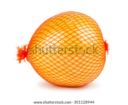 The pomelo fruit wrapped in plastic reticle isolated on a white background   - stock photo