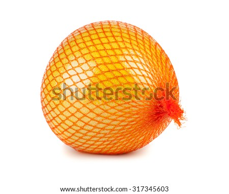 The pomelo fruit wrapped in plastic reticle isolated on a white background