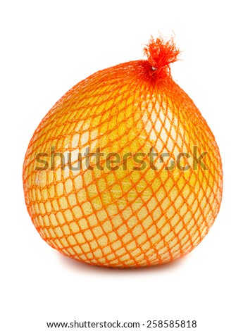 The pomelo fruit wrapped in plastic reticle isolated on white background