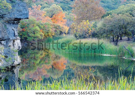 The Pond at Lost Maples State Natural Area - stock photo