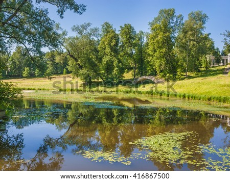The pond at palace in Pavlovsk park near St.-Petersburg, Russia - stock photo