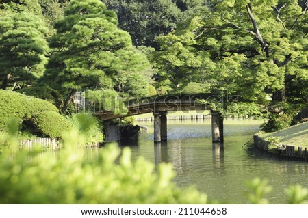 The Pond Of Rikugien - stock photo