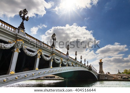 The Pont Alexandre III over the river Seine at Invalides in Paris, France, in spring  - stock photo
